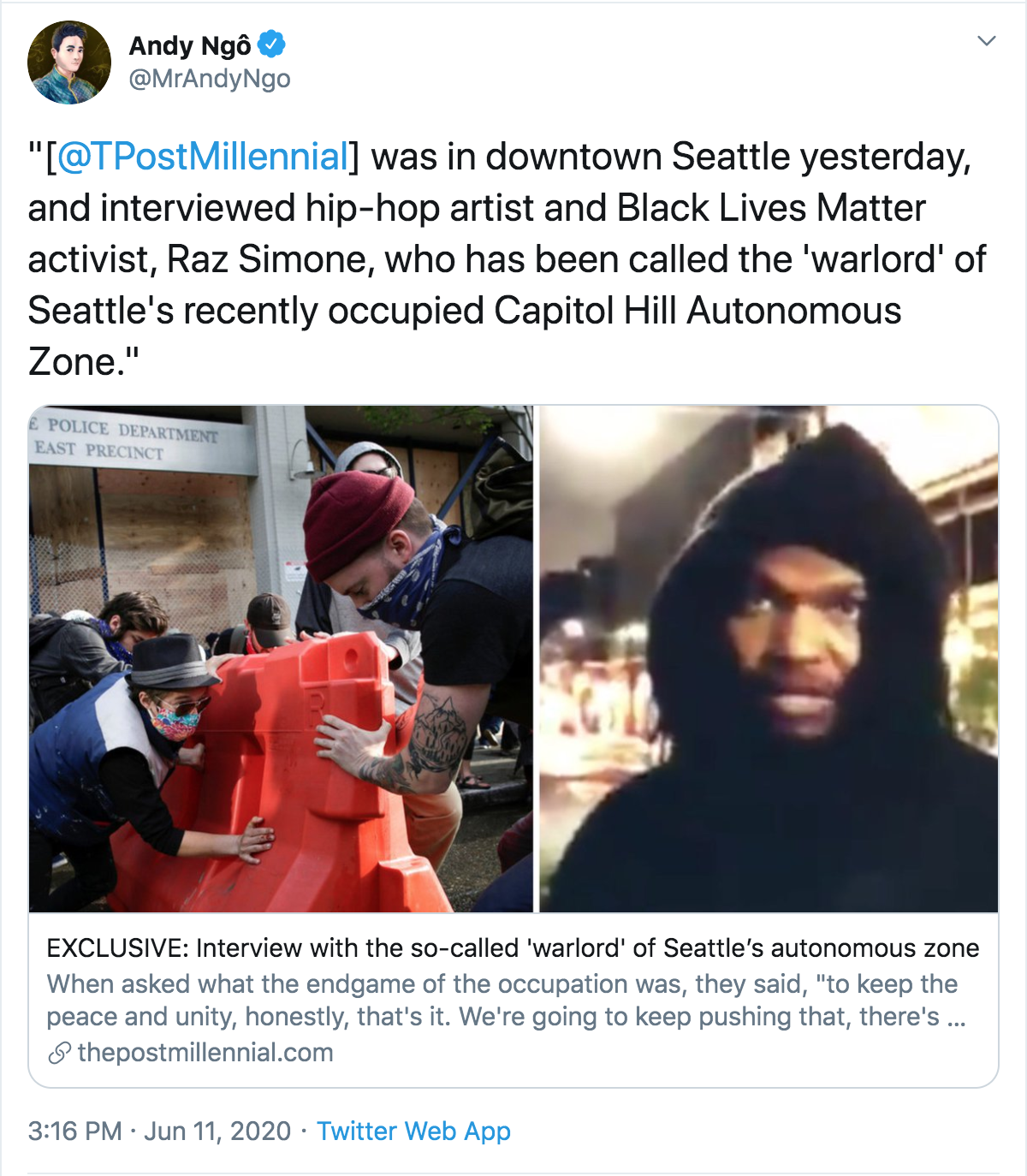Andy Ngo tweet about the CHAZ claiming Raz Simone is a warlord