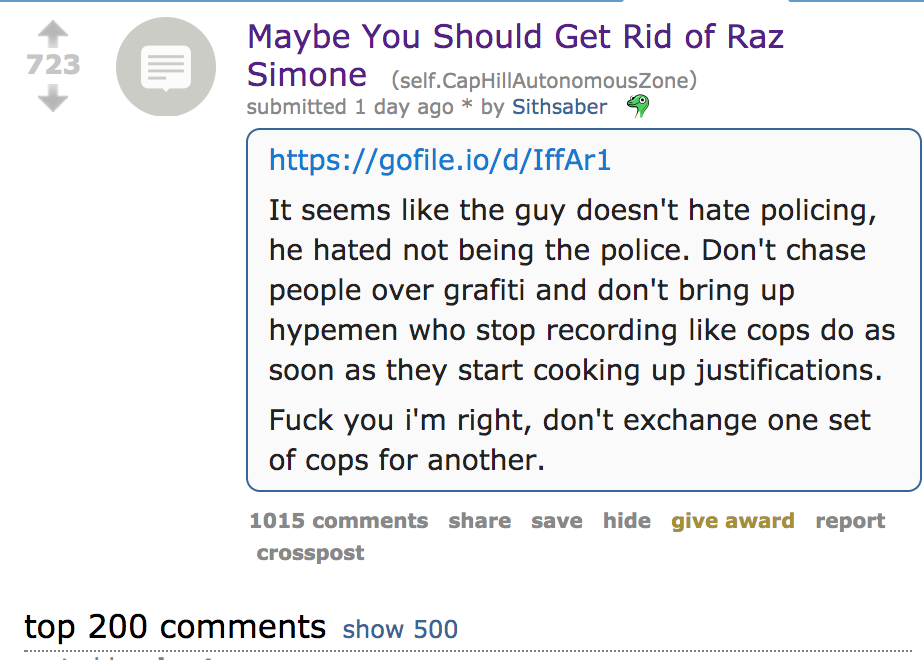 Maybe you should get rid of raz simone - reddit post in the r/caphillautonomouszone subreddit