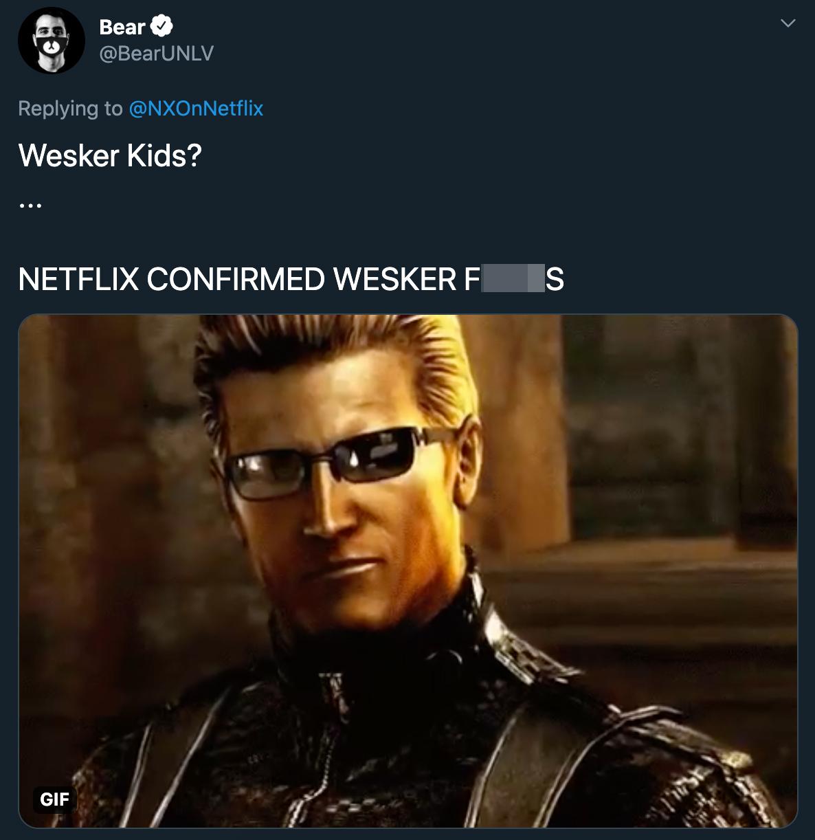 wesker kids? netflix confirmed wesker fucks