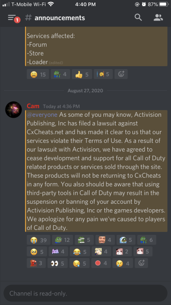activision lawsuit against cxcheats for call of duty cheats