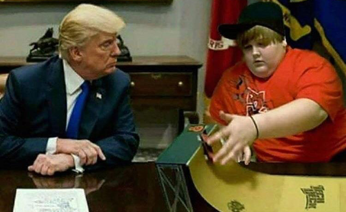kid playing with tech decks in front of donald trump