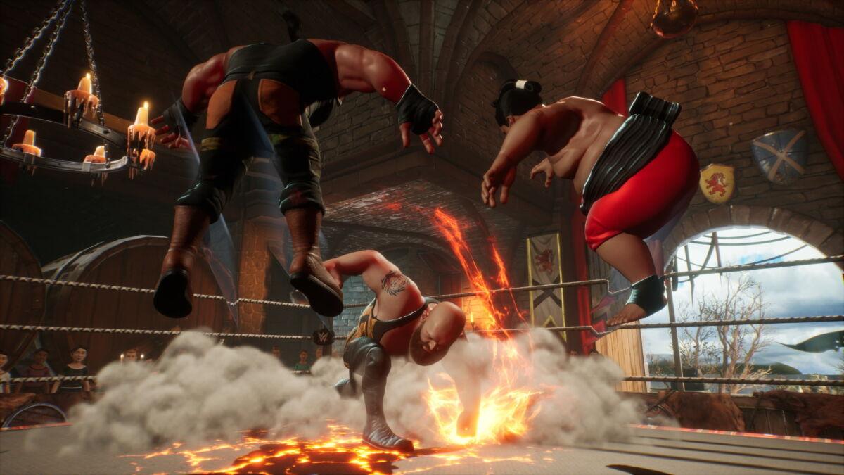 wwe 2k battlegrounds fire explosion