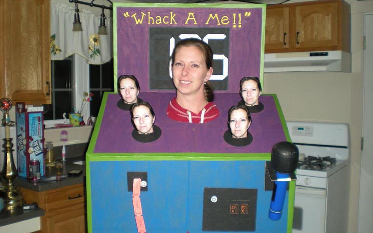 woman wearing whack a me halloween costume