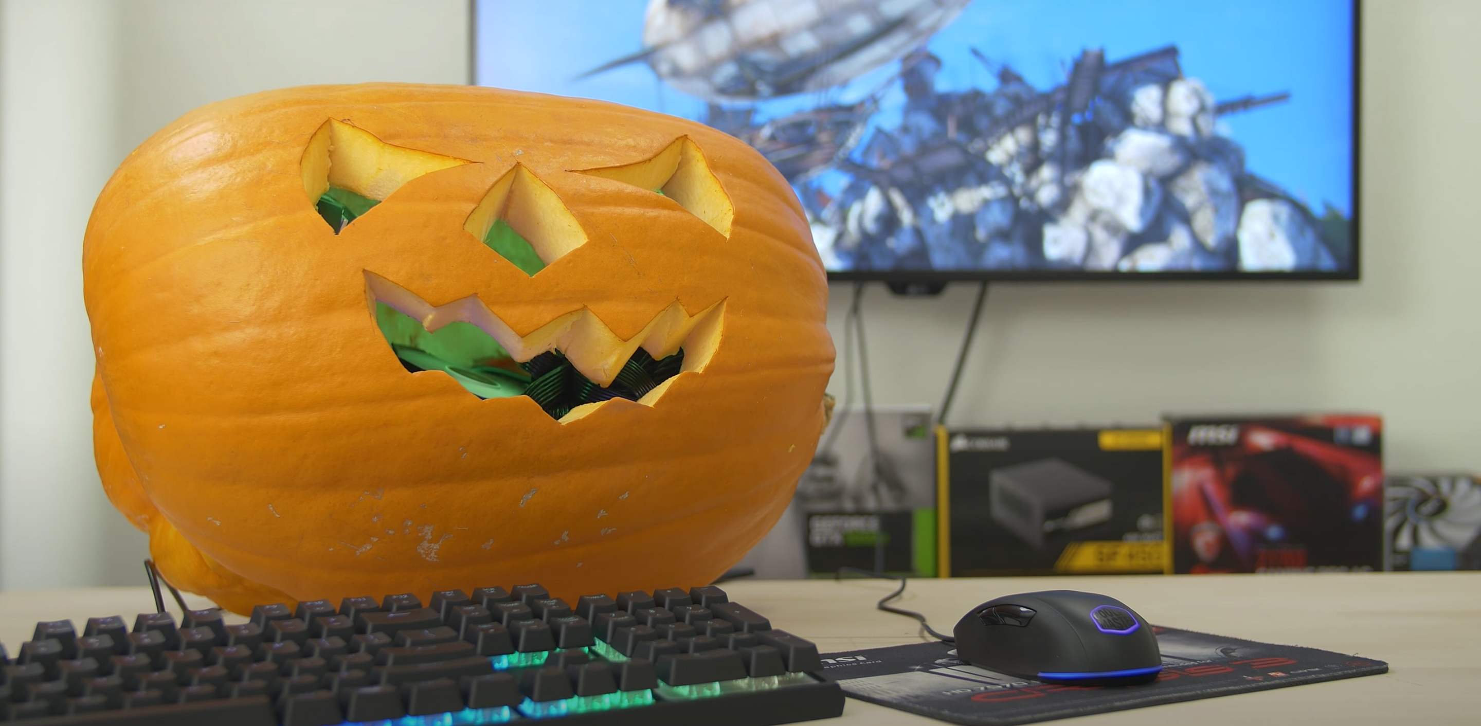 halloween pumpkin carving pc gaming computer setup