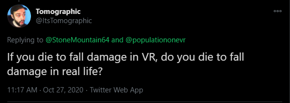 if you die to fall damage in vr do you die to fall damage in real life? population one vr battle royale game