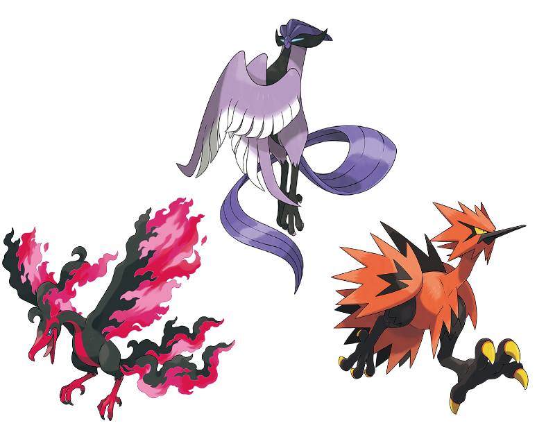 Galarian Articuno, Zapados, and Moltres pokemon crown tundra