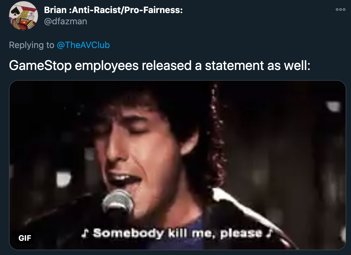 gamestop employees released a statement as well. adam sandler. somebody kill me please