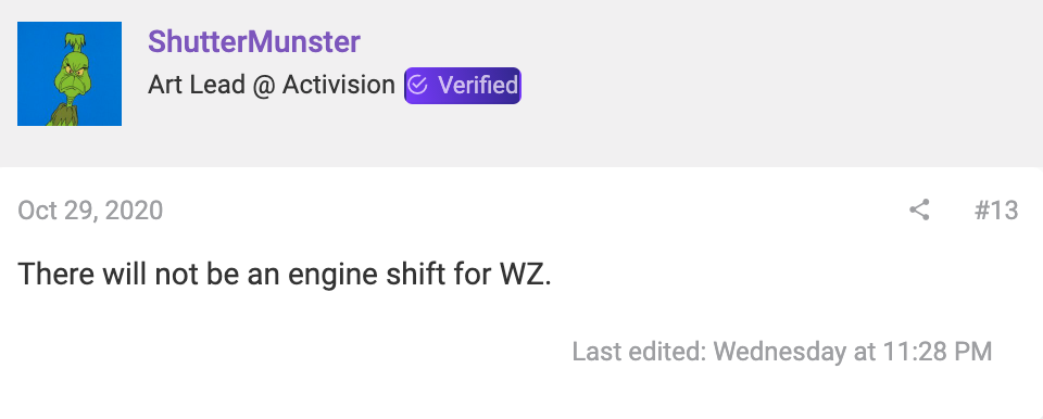 there will not be an engine shift for call of duty warzone
