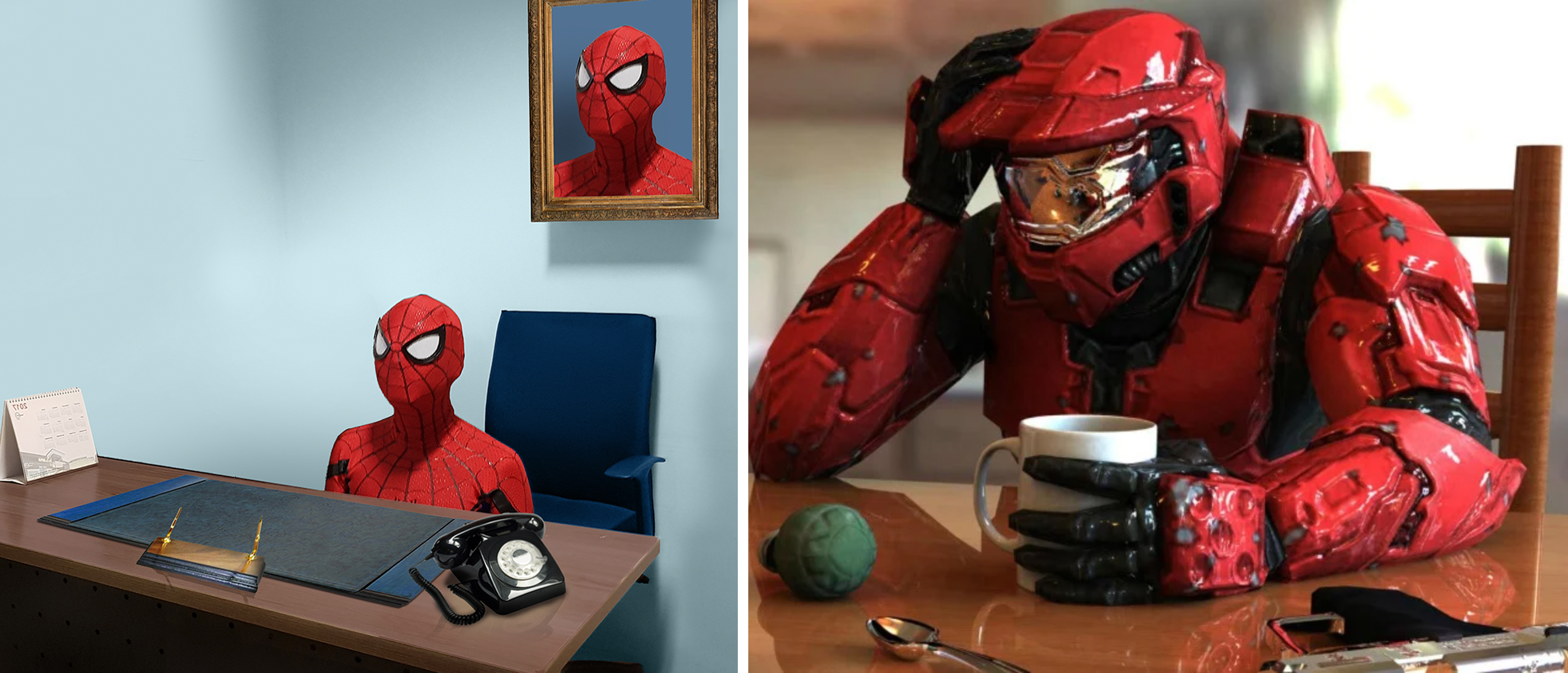 spider-man sitting behind a desk meme - halo master chief red suit sitting at table