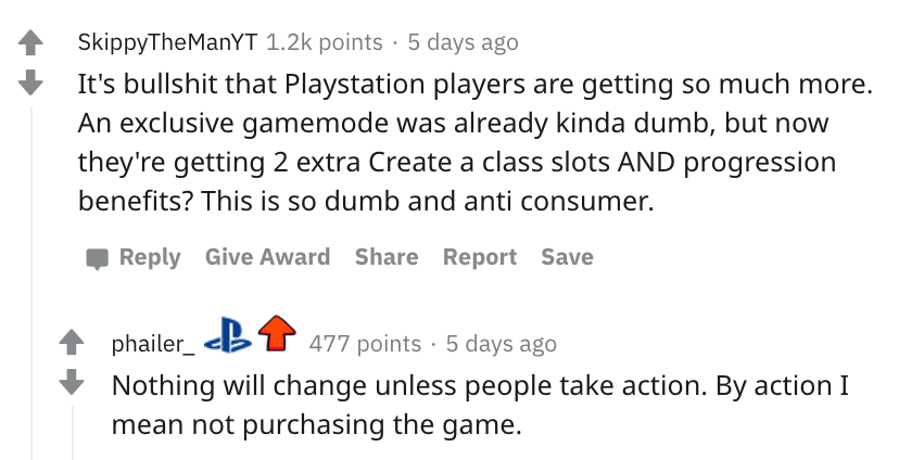 It's bullshit that Playstation players are getting so much more. An exclusive gamemode was already kinda dumb, but now they're getting 2 extra Create a class slots AND progression benefits? This is so dumb and anti consumer.