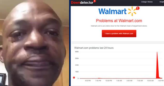 sad face meme and walmart site outage data