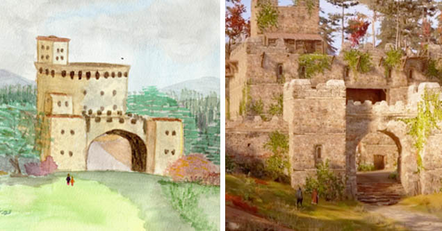 Paola's Castle vs in-game castle from 'Paola's Dream' mission