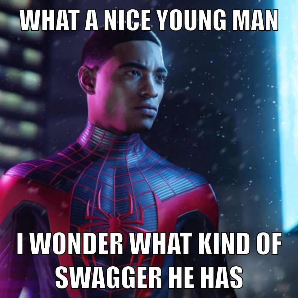 spider-man miles morales exaggerated swagger black teen meme