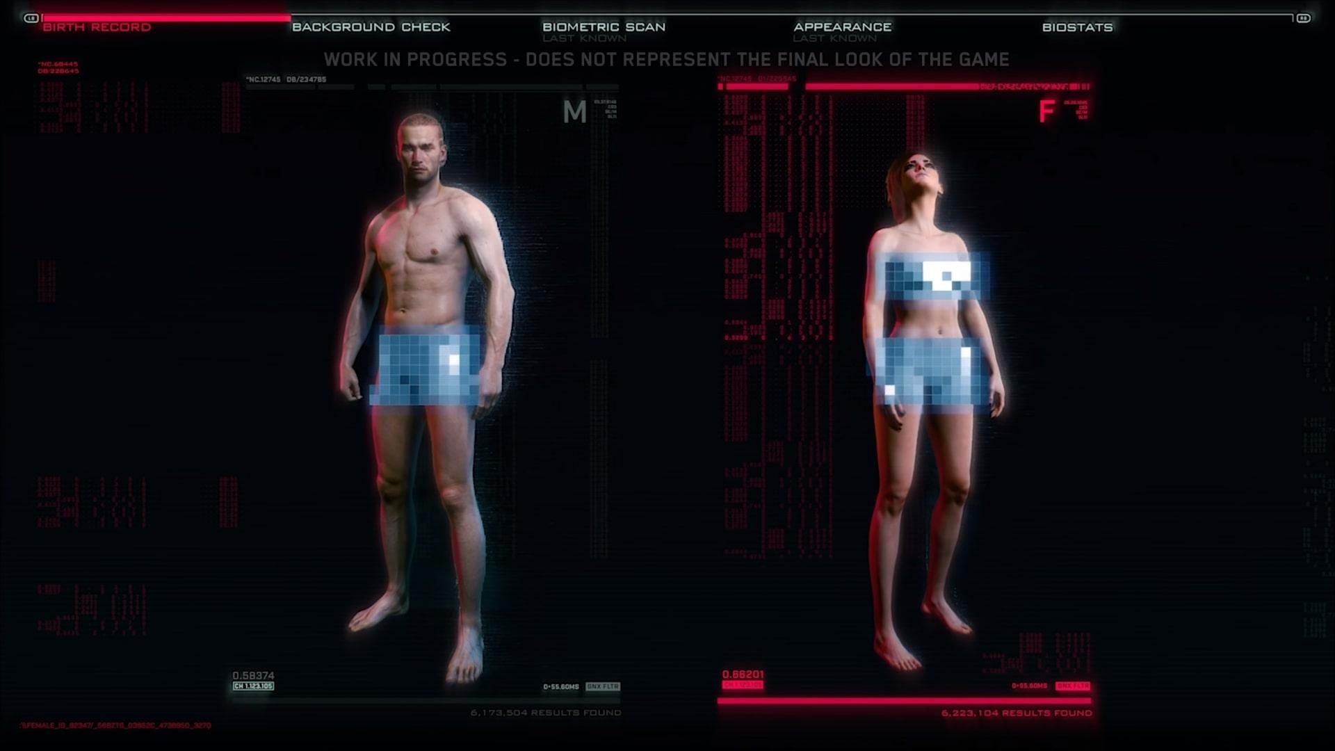 cyberpunk 2077 genital customizer character select screen