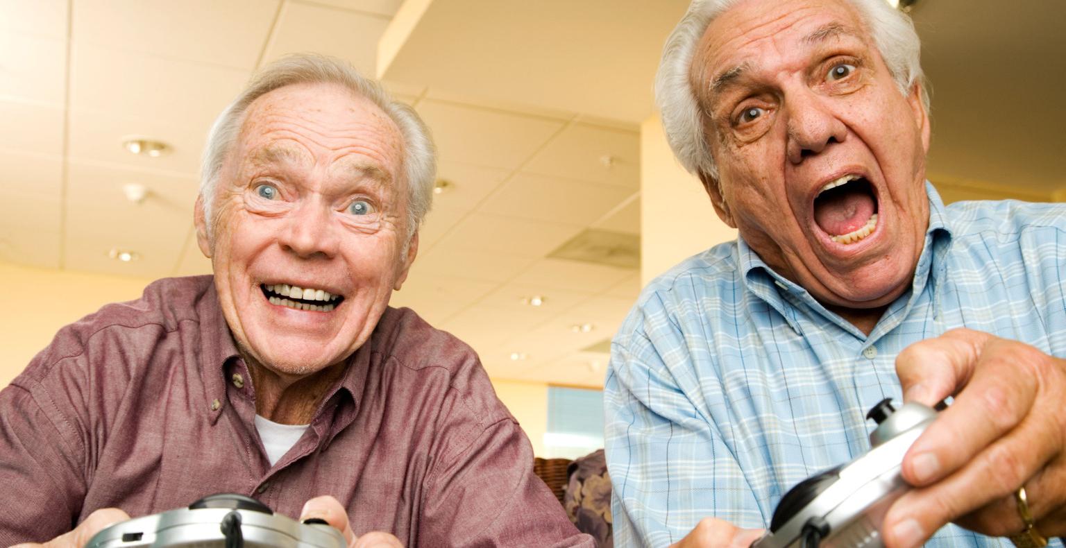 old men playing video games