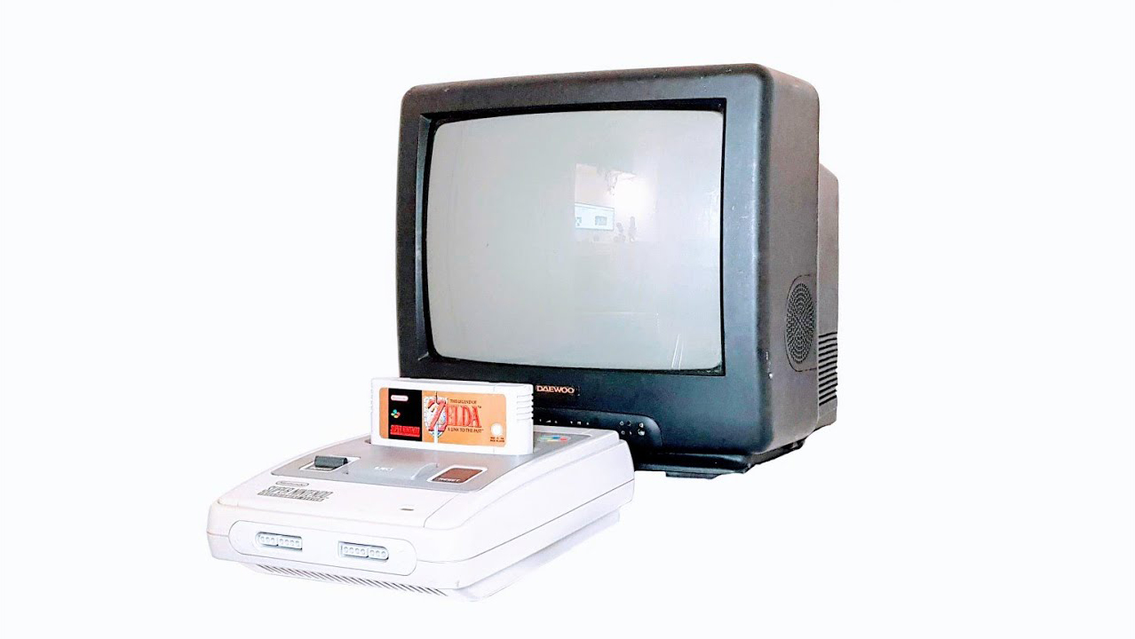 old tv with video game console zelda