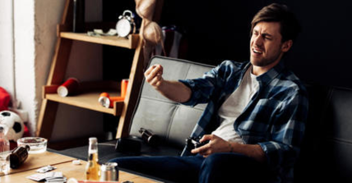 drunk guy playing video games
