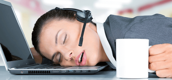 customer service representative asleep