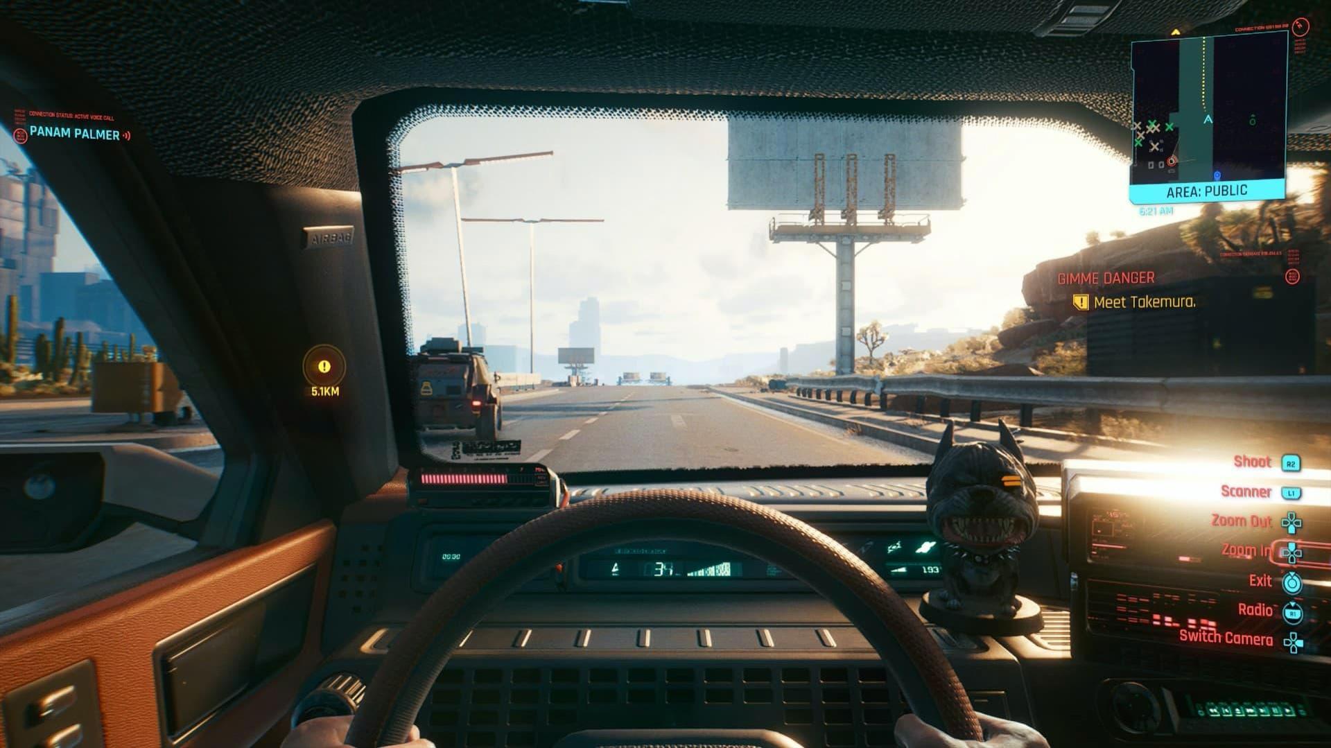 driving a car cyberpunk 2077 video game