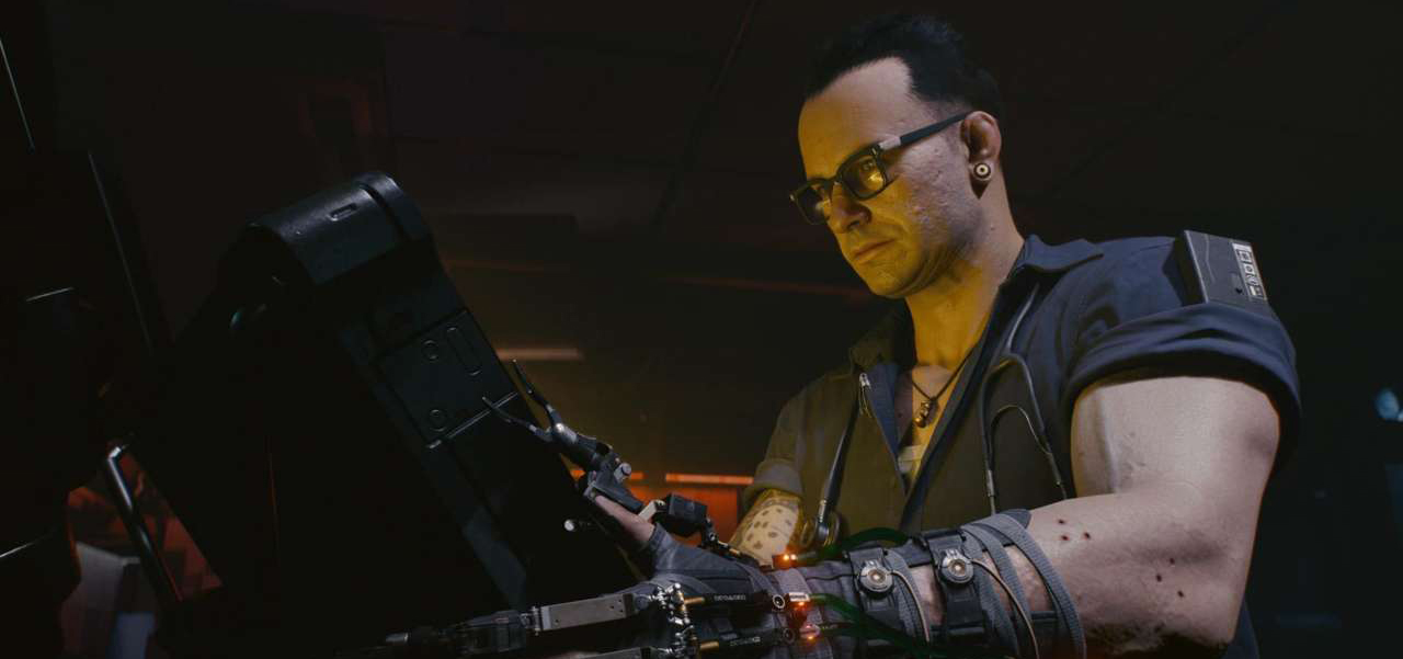 cyberpunk 2077 character using computer doctor