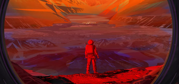 a drawing of an astronaut on mars