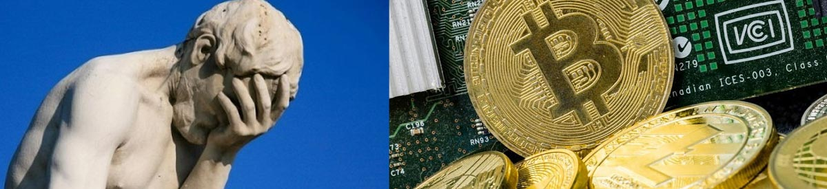 a statue facepalming and bitcoin coins