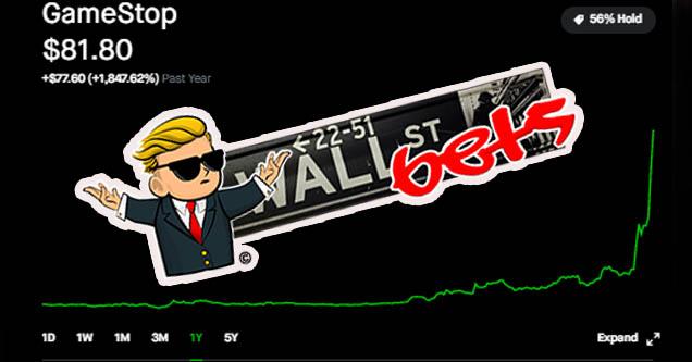r/WallStreetBets logo over GME stock ticker