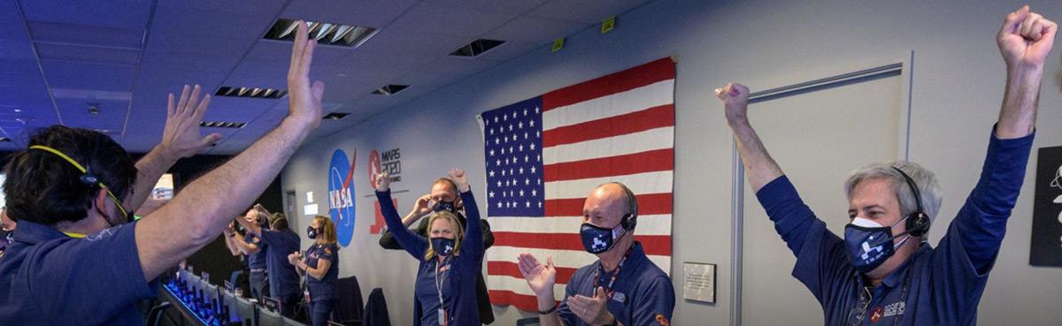 nasa and jpl employees celebrating mars rover 2021 landing on mars perseverance