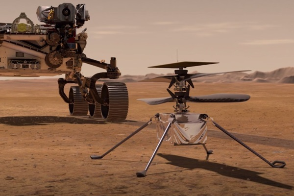 The Mars Rover Perseverance and Ingenuity helicopter drone.