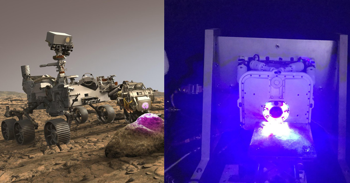 The 2021 mars rover perseverance scanning a rock with an ultra-violet x-ray camera