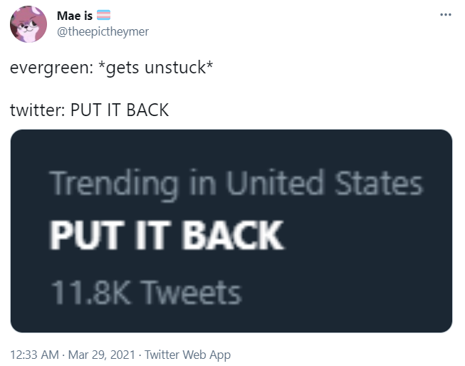 Mae is ️⚧️ @theepictheymer evergreen: *gets unstuck*  twitter: PUT IT BACK
