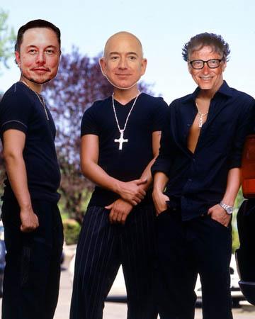 Elon Musk, Jeff Bezos, Bill Gates heads imposed on douchebro bodies