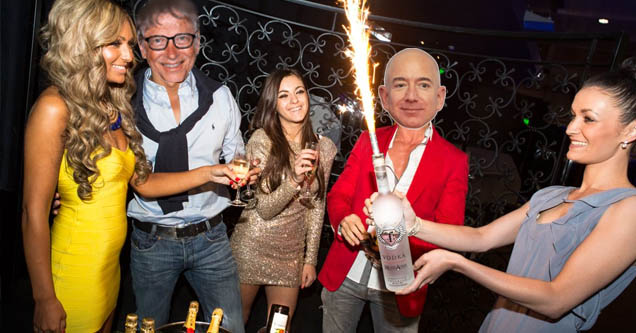people in club with Jeff Bezos and Bill Gates' heads imposed onto the guys