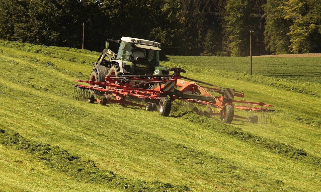 Photo - Red tractor at work in verdant field