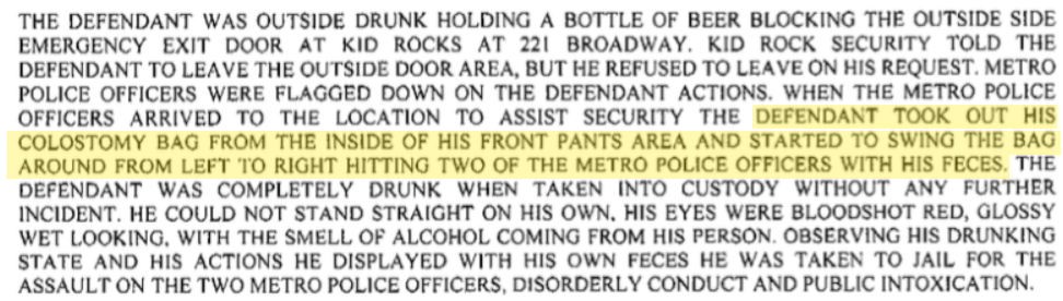 Police Report detailing colostomy bag attack