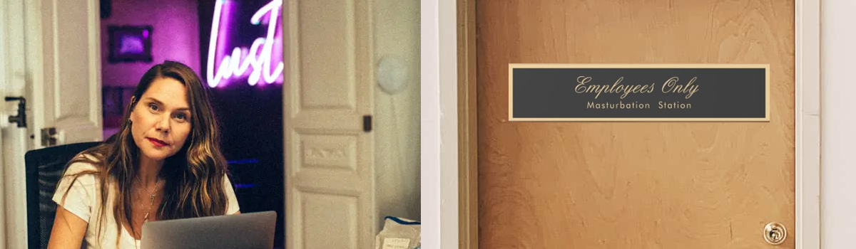 erika lust and an office door that says masturbation station