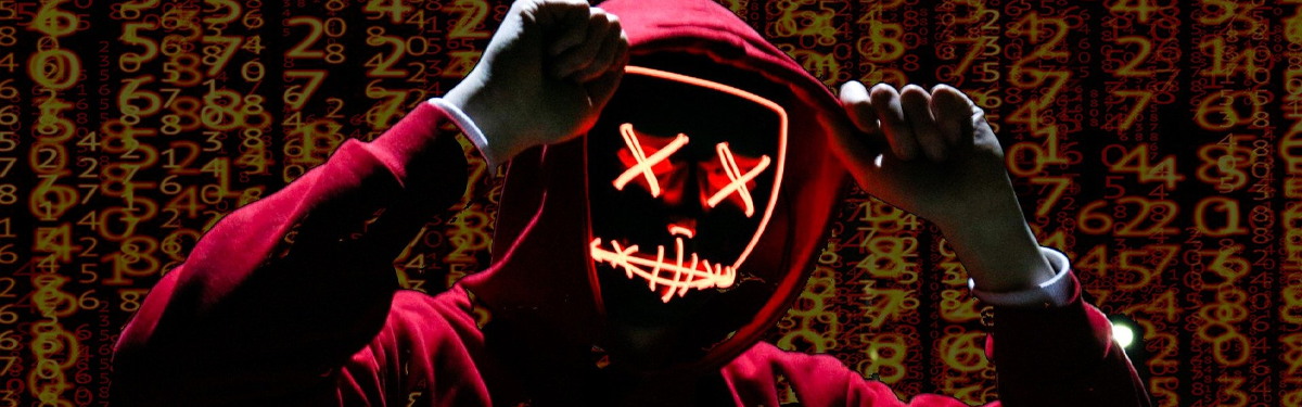 hacker surrounded by red matrix