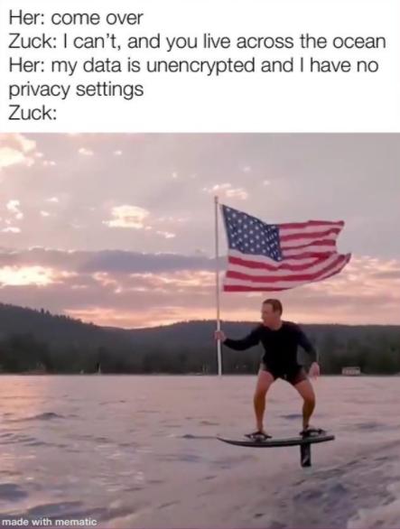 zuckerberg flag surf meme - her: come over