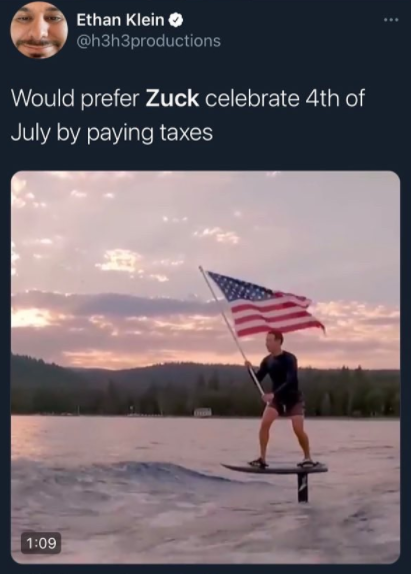 zuckerberg flag surfing meme - celebrate by paying taxes