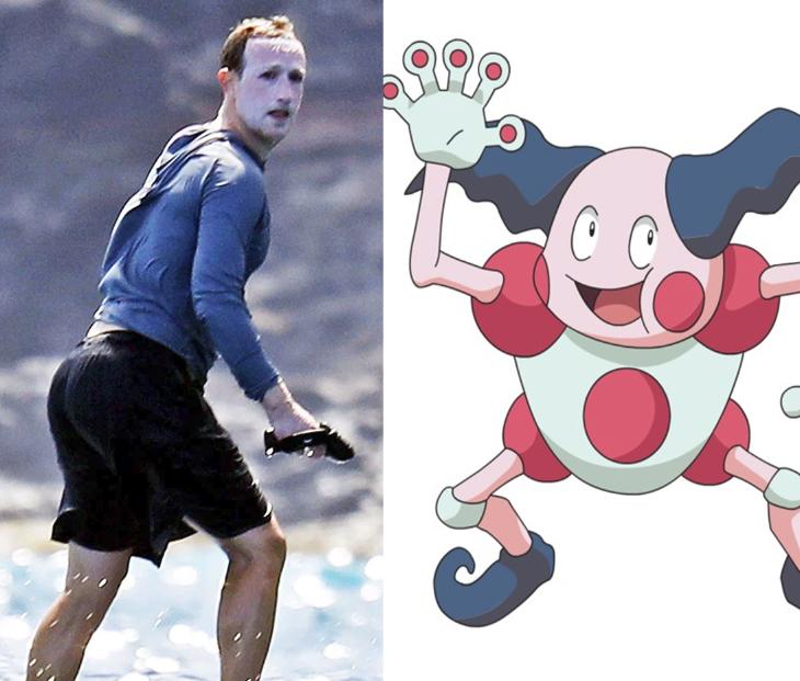 Mark Zuckerberg surfing with sunscreen | Mr Mime