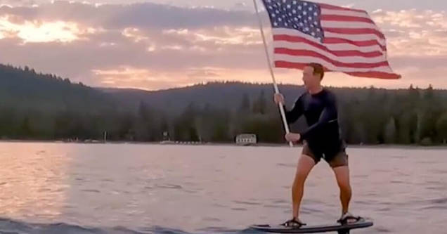 mark zuckerberg surfing with american flag