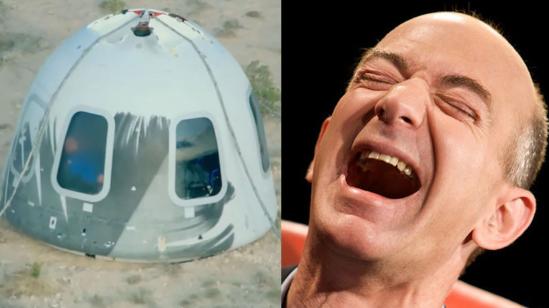 Blue Origin landing capsule | Jeff Bezos laughing