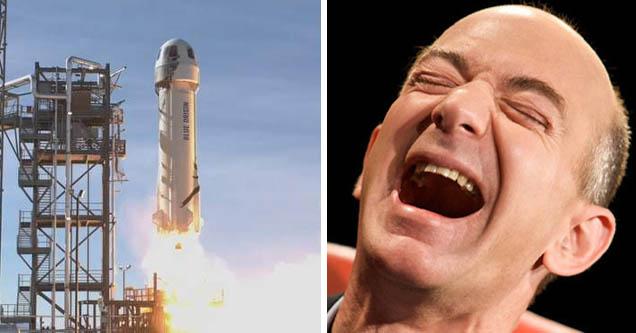 blue origin launch | laughing jeff bezos