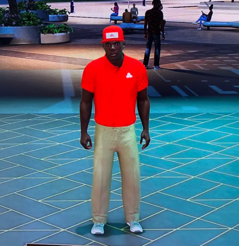 NBA 2K22 -  my character wearing the Jake from State Farm outfit