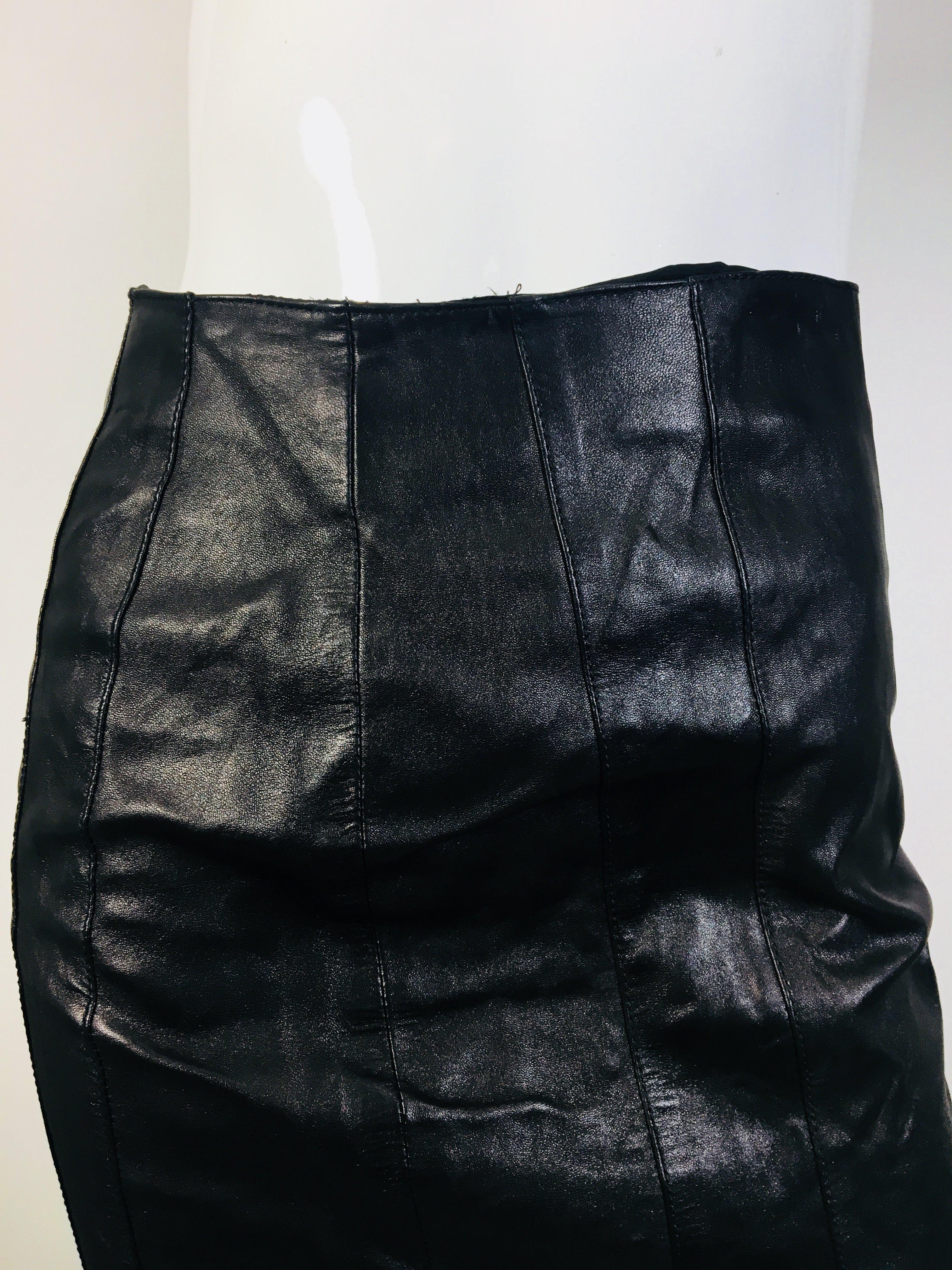 38afba4c38 Details about Prada Size 40 Women's Black Leather Pencil Skirt