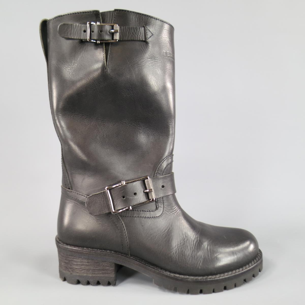 sneakers new lower prices wholesale price Details about BELSTAFF Size 7 Black Leather FULHAM MOTO Biker Boots