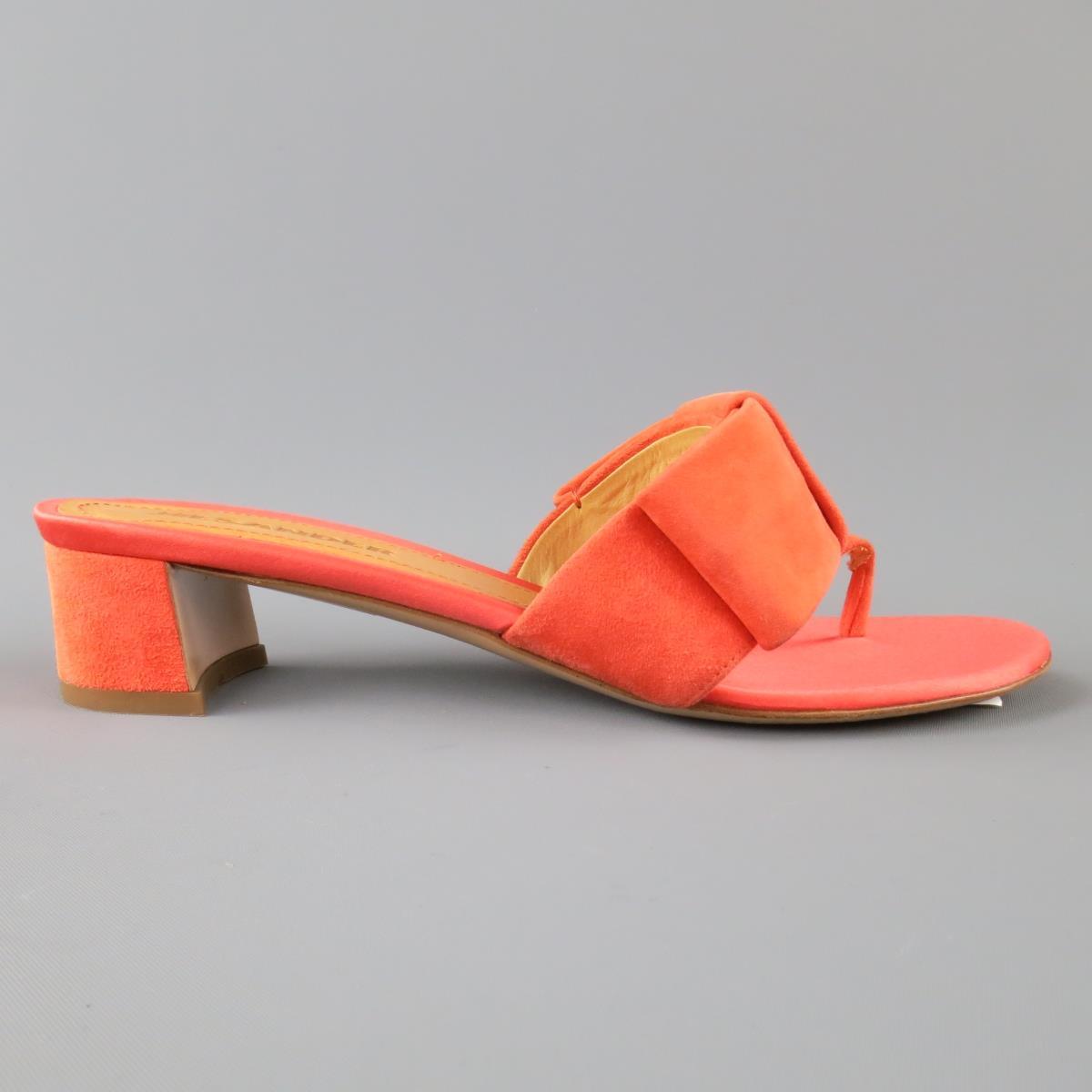 91683a1ce Details about JIL SANDER Size 7 Coral Orange Suede   Satin Bow Sandals