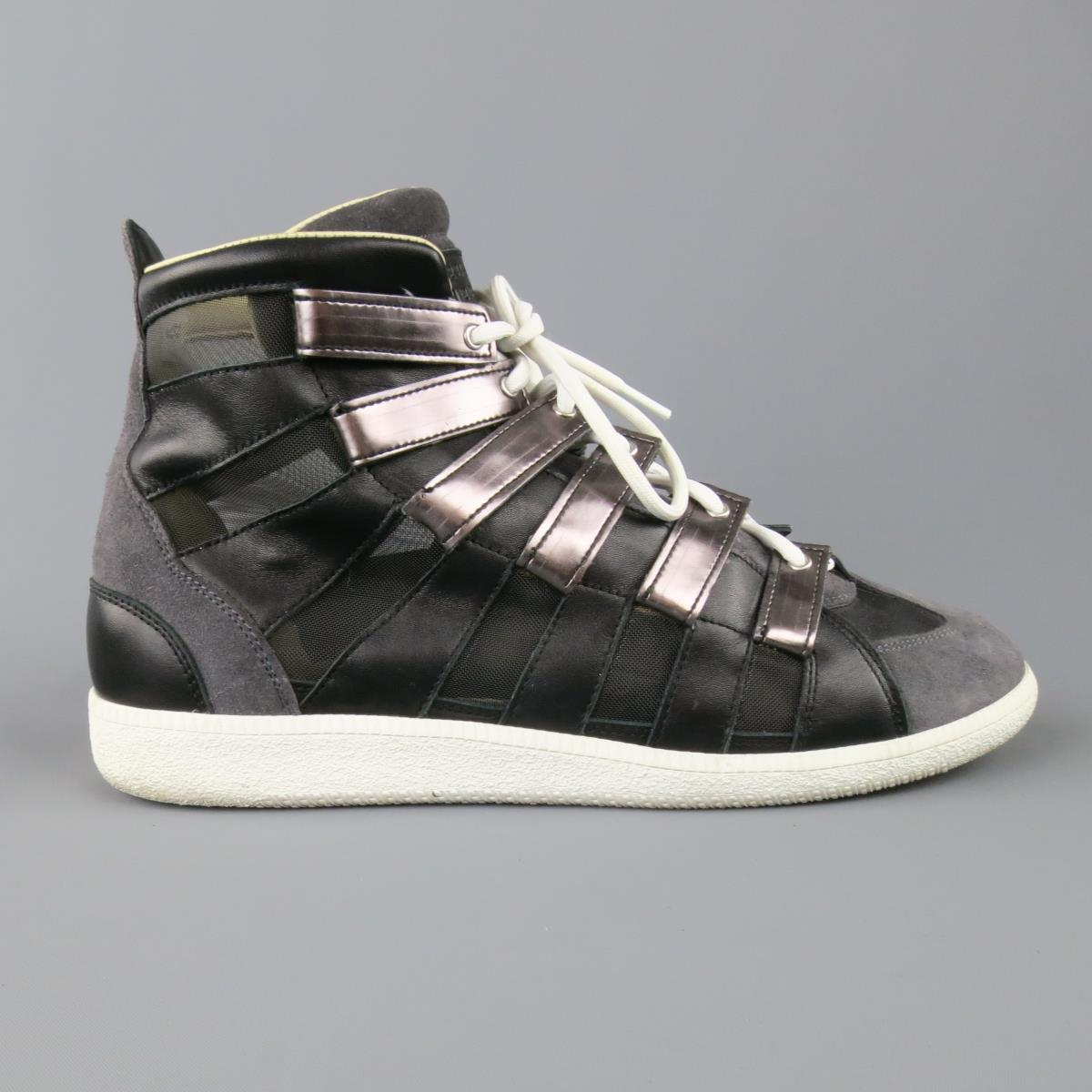 ff41a0b50e94a Details about MAISON MARTIN MARGIELA Size 12 Black   Grey Mesh Stripe High  Top Sneakers