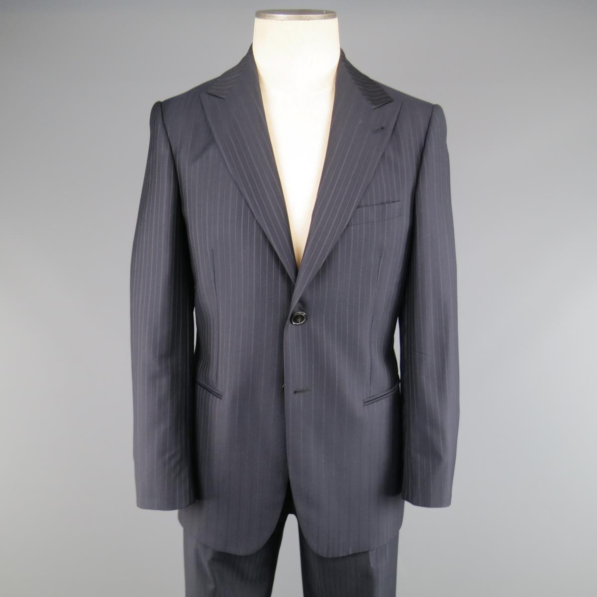 b6f0636edc2 GIORGIO ARMANI 40 Regular Navy   Brown PinStripe Wool 32 32 Suit