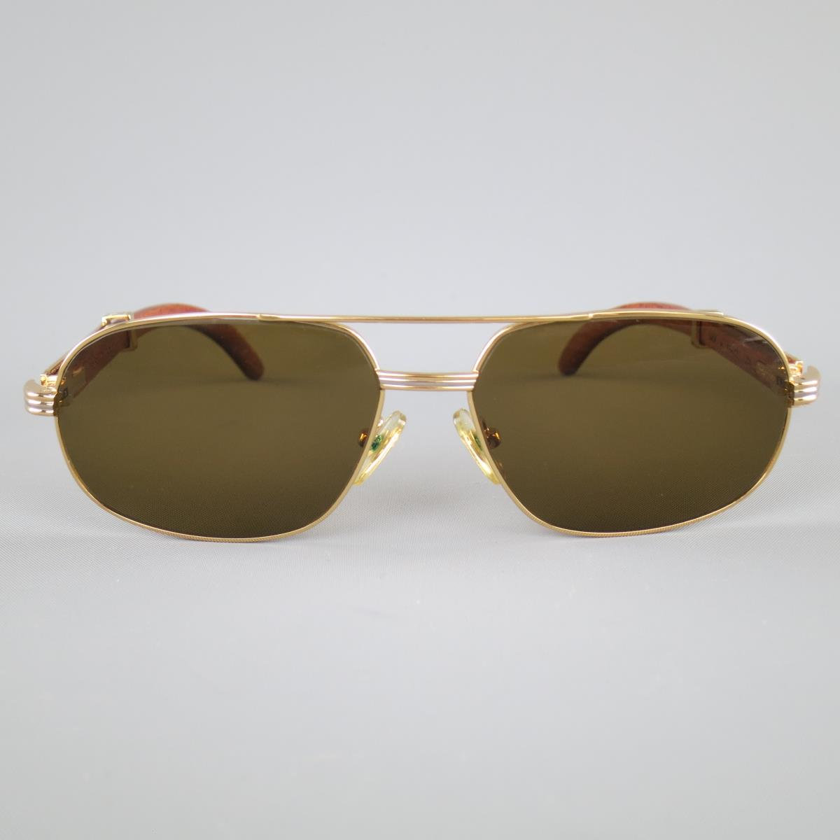 ef94e8850af Preowned Vintage Cartier Gold Tone amp Wood Frame Brown Lenses